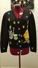 JACK B QUICK BLACK CARDIGAN CAT/KITTEN SWEATER WOMEN'S SIZE P/S  EUC