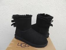 UGG BLACK MINI BAILEY BOW SUEDE/ SHEEPSKIN BOOTS, WOMENS US 7/ EUR 38  ~NEW