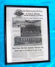 Vintage Illinois Central Railroad-Framed Picture From World's Fair-Won A Gold Me