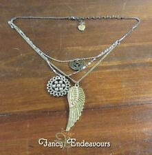 Betsey Johnson Egyptian Goddess Wing Sunflower Silver & Gold Tone Necklace