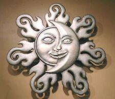 "Sun & Moon Half Face Celestial Wall Art Garden Hanging Plaque Sunburst Decor 32"""