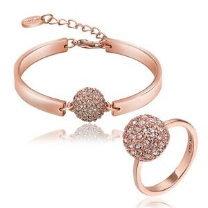 NEW 18K Rose Gold Plated Jewellery Sets - Czech Crystal Ball BRACELET & RING