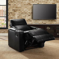 Leather Seat Lounge Sofa Recliner Rocker Home Theater Living Room Deluxe Black