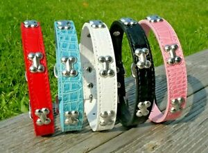 Dog Collar Studded Bone Puppy PU Leather XS Small Medium Pet Black Pink Terrier