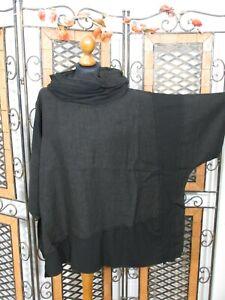 Barbara Speer weites Shirt im Materialmix mit Leinen in schwarz NEU!!!