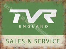 TVR England Sales & Service, Vintage Garage Sports Car, Medium Metal/Tin Sign