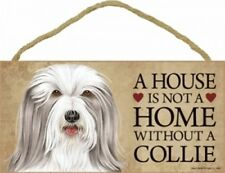 """A House Is Not A Home Without a Bearded Collie-Wood Plaque/Sign 5"""" x 10"""""""