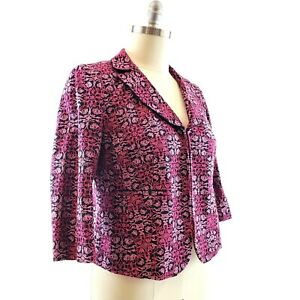 Talbots Woman Petites 14W Blazer Jacket Embroidered Pink Black 3/4 Sleeves