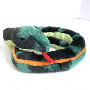 "Aurora Plush Snake 48"" Green with Orange Stripe"
