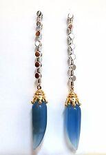 Natural Chalcedony Dangle earrings 14kt+