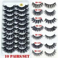 SKONHED 10Pairs 3D Mink False Eye Lashes Wispy Cross Fluffy Extension Eyelashes