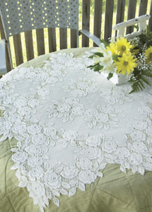 """Heritage Lace White """"Tea Rose"""" 30"""" x 30"""" Table Topper - Made in USA!"""