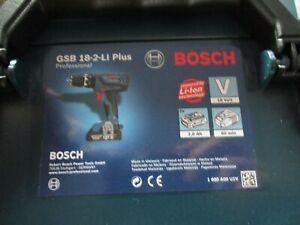 BOSCH GSB 18-2-Li Plus Combi Drill Charger & Case 2 x 2.0Ah Batteries BOSCH
