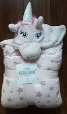NEW PRIMARK PINK WHITE SILVER STAR SOFT UNICORN HOODED BLANKET THROW 125 x 150cm