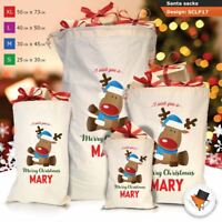 Personalised Reindeer Christmas Santa Sack Gift Bag Blue Boy Stocking