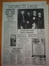 CLASH / STRANGLERS / PATTI SMITH news items 1978UK ARTICLE / clipping