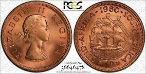 1960 SOUTH AFRICA 1 PENNY BU UNCIRCULATED PCGS MS65RD COIN ONLY 4 GRADED HIGHER