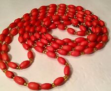 """20"""" Coral Red Beaded Fancy Double Strand Beads Necklace"""