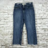 Old Navy Womens Boot Cut Jeans 8 Regular Capri Frayed Distressed Cotton