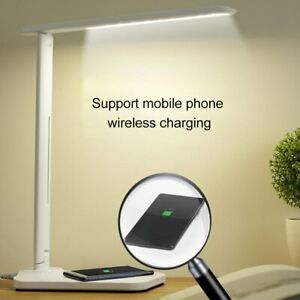 USB Charge LED Desk Lamp Table + QI Wireless Phone Charger Home Reading Light