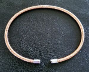 """💮NEW! 7.5"""" ITALY ROSE GOLD 925 STERLING OPEN FLEX COIL CUFF/ BANGLE BRACELET"""