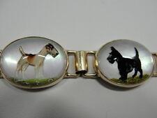 """14K """"Essex"""" Dog Crystal Bracelet w/Reverse-Painted Scottie, Pointer & Schnauzer"""