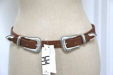 B-Low the Belt Double Western Buckle Leather Belt Luggage Brown Silver M NWT