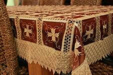 Elegant Embroidered Satin Lace Square Dinning Tablecloth 90 X 90 cm coffee table