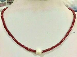 """9-10mm White Freshwater Pearl & 2x4mm Red Ruby Faceted abacus Necklace 18""""AAA"""