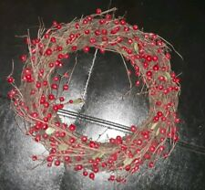 """13"""" Grapevine wreath with artificial red berries"""
