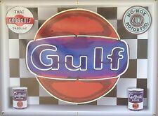 GULF GAS STATION NEON STYLE BANNER SIGN LARGE SHADOWBOX CUSTOM ART 4' X 3'