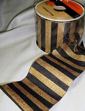 "Halloween Black Gold Striped Wired Ribbon Autumn Fall Craft 2.5"" x 4 yards"