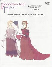 Schnittmuster RH 707: 1670s-1690s Bodiced Gowns