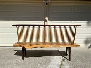 George Nakashima Style Live Edge Wood Bench Mid-Century