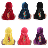 Unisex Men Women Velvet Flower Pirate Bandana Hat Turban Cap Durag Headscarf New