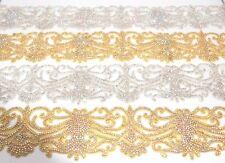 1 Metre Length Bright Crystal Rhinestone Iron on Bridal Belt, Bridal Dress Lace
