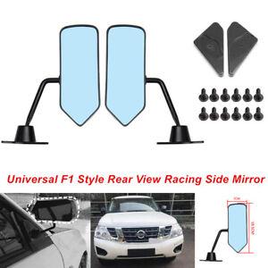 2PCS F1 Style Rear View Racing Car SUV Side Mirrors Convex Glass Retro Universal