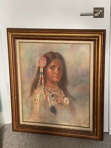 Groovy 60s 70s Art Original Painting Sexy Indian Princess Retro Mod Kitsch Keane
