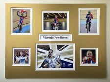 "Cycling Victoria Pendleton Signed 16"" X 12"" Double Mounted Display"