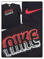 Vtg 90's? Nike Scribble Graffiti Spellout T-Shirt Black Red Gray Shirt ~Rare Guc