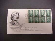 First Day of Issue,FDC,1968 Thomas Jefferson,3rd President,Jeffersonville IN,1c