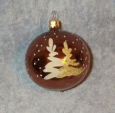 Beautiful Shiny Ball Christmas Ornament, Hand Painted Trees & Snow, From GERMANY