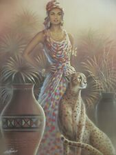 Majestic African Queen with Leopard 16x20 Poster