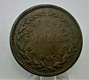 ARGENTINA Buenos Aires Un Decimo 1822 Copper Coin