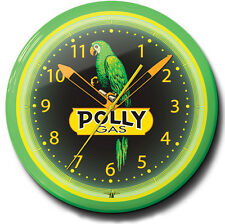 Polly Gas Nostalgic Gasoline Station Neon Clock Hand Made In The USA 20 Inch