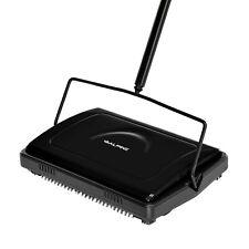 Alpine Industries Black Triple Brush Manual House Broom Floor and Carpet Sweeper