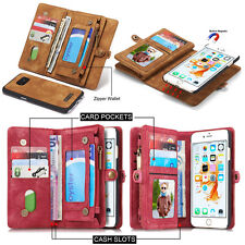 Retro Luxury Leather Magnetic Wallet Case Flip Cover For Samsung S9 S8 S7 iPhone