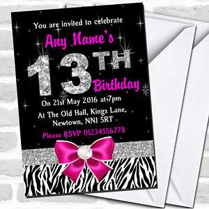 Pink Diamond And Zebra Print 13th Birthday Party Invitations
