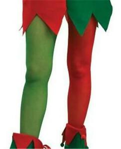 ADULT ELF RED & GREEN CHRISTMAS TIGHTS STOCKINGS COSTUME ACCESSORY SIZE L RU8494