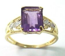NEW 9KT YELLOW SOLID GOLD OCTAGON CUT AMETHYST & DIAMOND RING SIZE 7